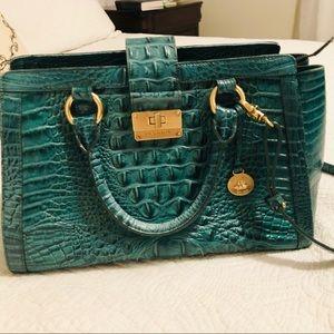 Green Brahmin Croc Embos Leather Handbag